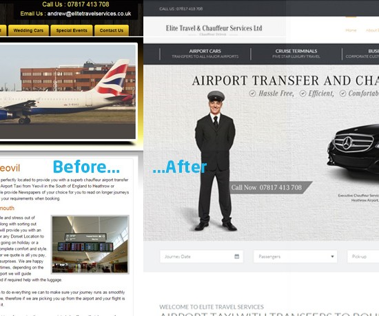 Gilingham Dorset Web Design - Chauffeur Before and After