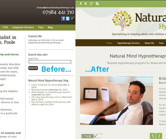 Before and After Web design portfolio of a Poole Hypnotherapy website